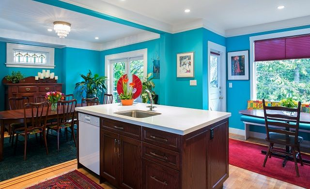 Bright and colorful kitchen and dining room renovation.