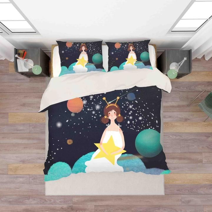 1 3d Planet Girl Star Quilt Cover Set Bedding Set Pillowcases 40 Jessartdecoration In 2020 Quilt Cover Sets Quilt Cover Bedding Set
