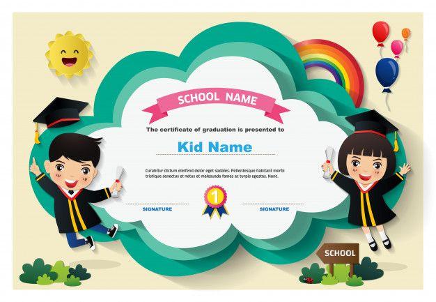 Preschool Kids Diploma Certificate Background Template