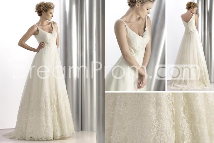 : Floorlength Brushes, Wedding Dressses, Wedding Dresses, Empire Vneck, Future Plans, Brushes Lace, Vneck Floorlength, Lace Trim, Spectacular Empire