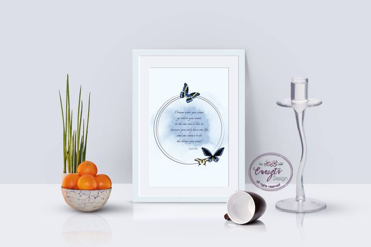 Poster with butterfly and with Quote motivated, Wall Art, Art Poster by EnesztiDesign on Etsy