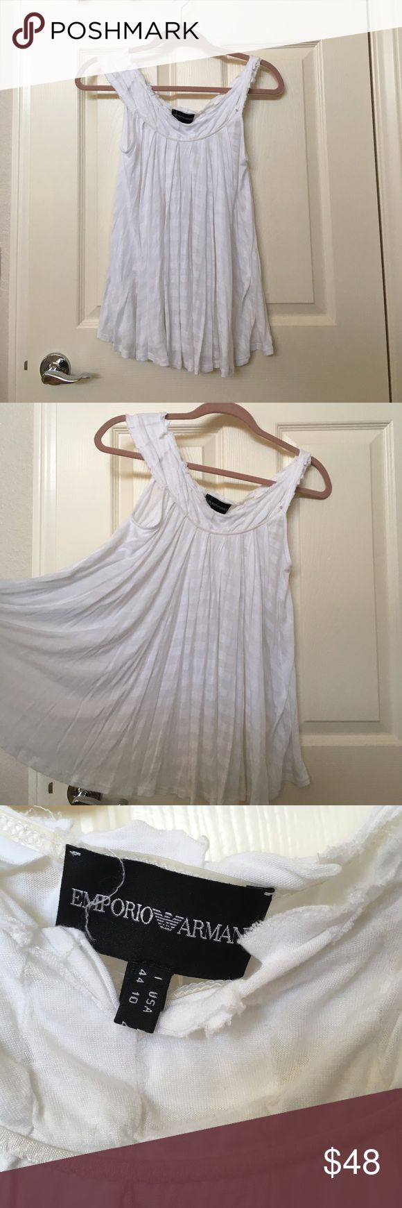 Emporior Armani White Raw Hem Billow Top Lightly worn Emporior Armani top in white stripes. There is fraying at the hems throughout but was designed for the frayed hem look. Size 6/M. Perfect for that summer look! Emporio Armani Tops