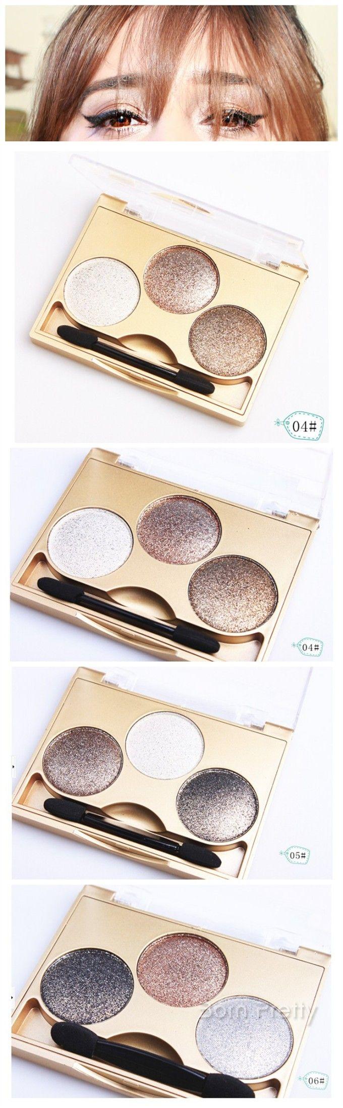 $3.99 3 Colors Stunning Eye Shimmer Eyeshadow Palette Waterproof Eyeshadow 3 Patterns - BornPrettyStore.com