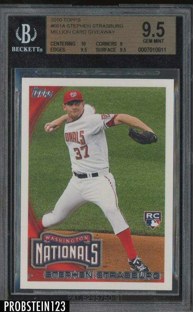 2010 Topps Million Card Giveaway Stephen Strasburg Rc Rookie Bgs 95