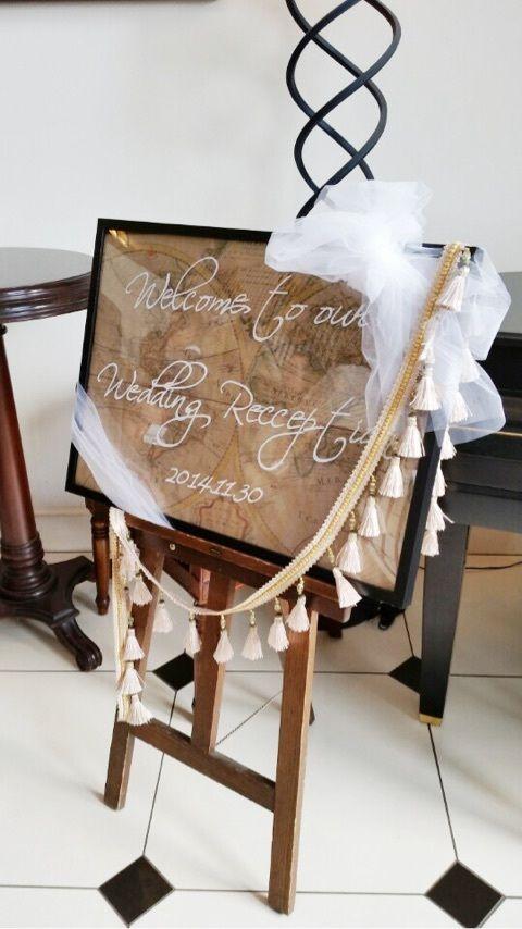 ウェルカムボード 世界地図 チュール リボン タッセル 筆記体 Welcome Board worldmap tulle ribbon letter