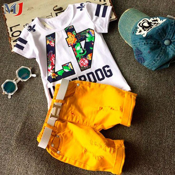 熱い販売! 2016夏のスタイル子供服セット赤ちゃん男の子女の子tパンツスポーツスーツ子供服