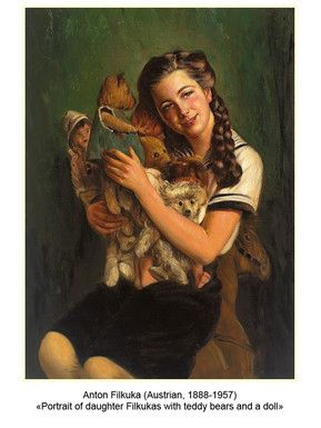 Anton Filkuka (Austrian, 1888-1957) «Portrait of daughter Filkukas with teddy bears and a doll»