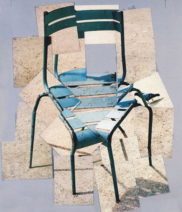 Bean Gilsdorf: HELP DESK: This article is a good guide to writing a good artist statement. The art is by David Hockney: photo collage of a chair.