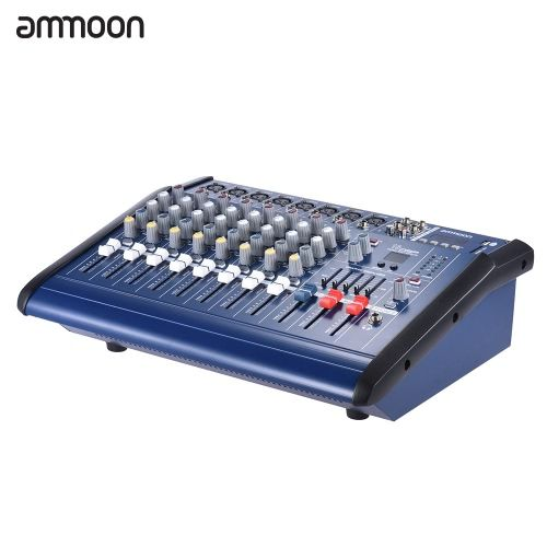 ammoon 8 Channels Powered Mixer Amplifier Digital Audio Mixing Console Amp with 48V Phantom Power USB/ SD Slot for Recording DJ Stage Karaoke