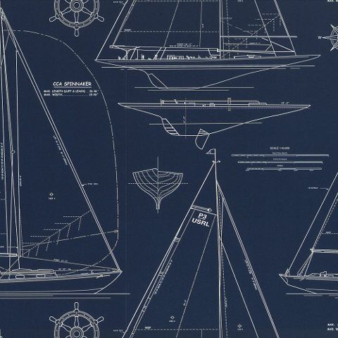 Chesapeake Novelty - White Line On Navy - Conversationals - Wallcovering - Products - Ralph Lauren Home - RalphLaurenHome.com