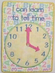 In The Hoop Learn To Tell Time 5x7 | Words and Phrases | Machine Embroidery Designs | SWAKembroidery.com SewAZ Embroidery Designs