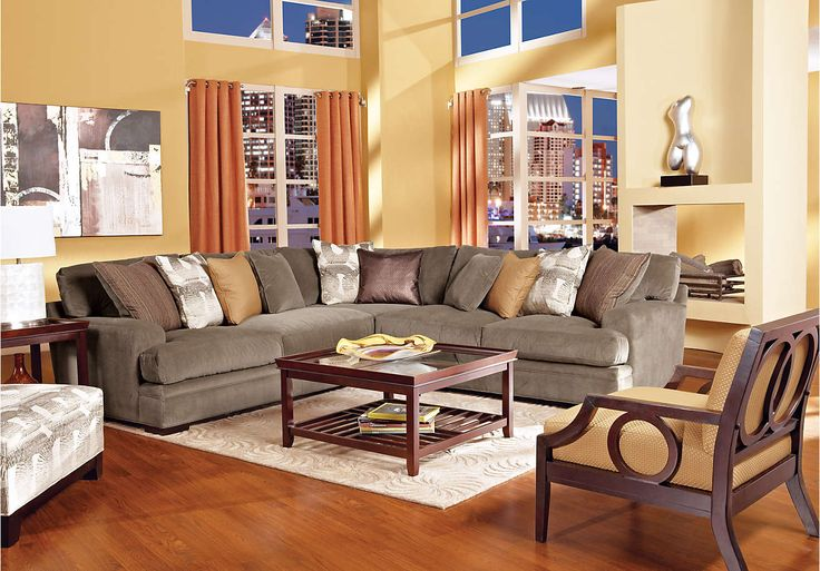 Cindy Crawford Fontaine Brown 3pc Sectional Living Room