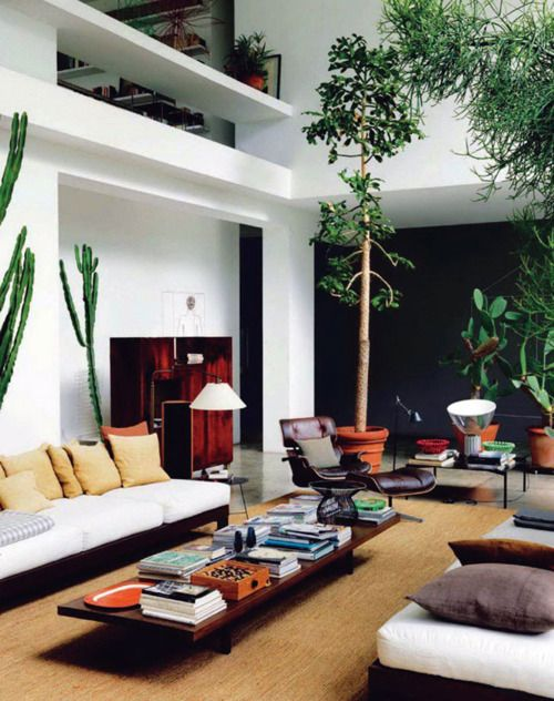 Mezzanine: Spaces, Living Rooms, Houses, Maurizio Zucchi, Interiors Design, High Ceilings, Memorial Tables, White Wall, Indoor Plants