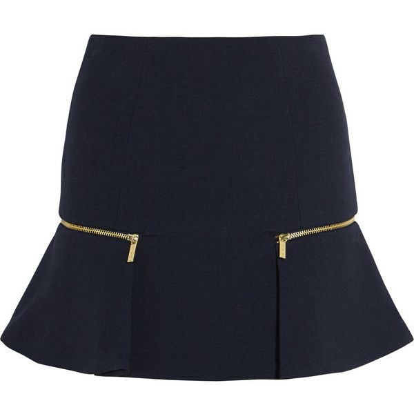 MICHAEL Michael Kors Zip-embellished stretch-jersey mini skirt ($79) ❤ liked on Polyvore