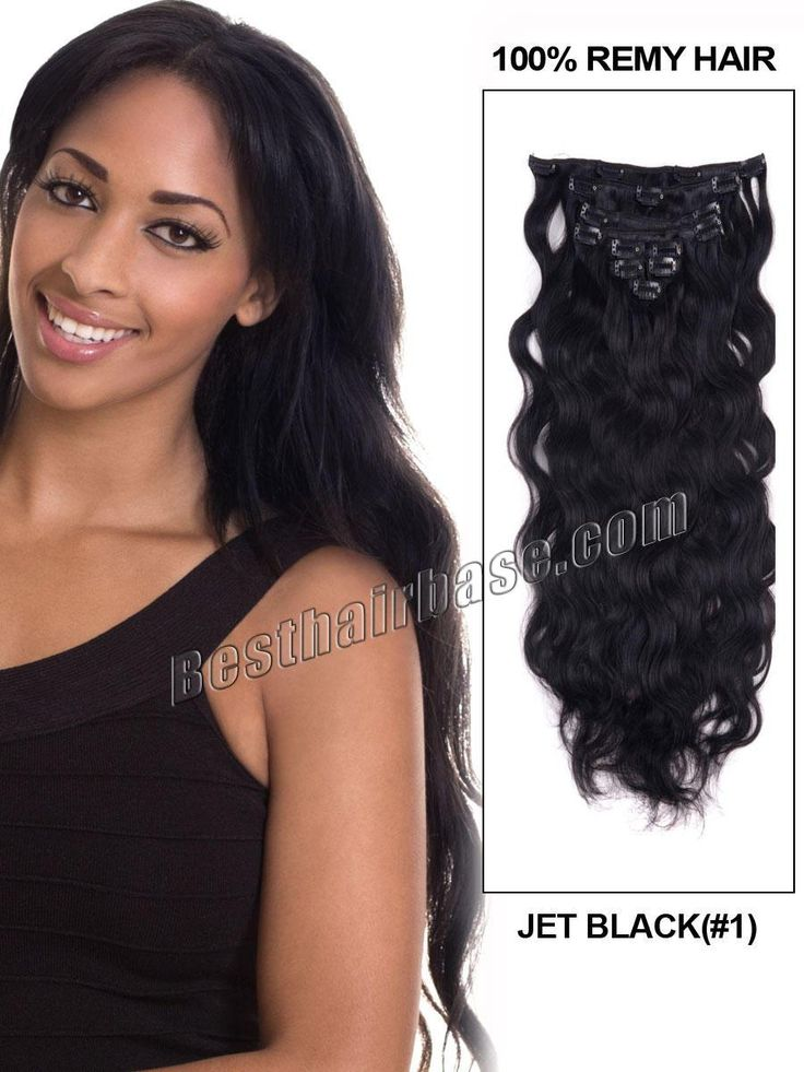 22 Inch Incredible Body Wavy Clip In Human Hair Extensions #1 Jet Black 7 Pieces