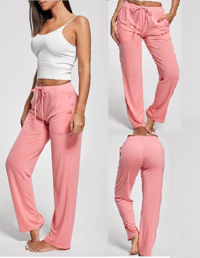 Women Lady Cotton Wide Leg Loose Casual Pants Lace-Up Yoga Sports Trousers Pink