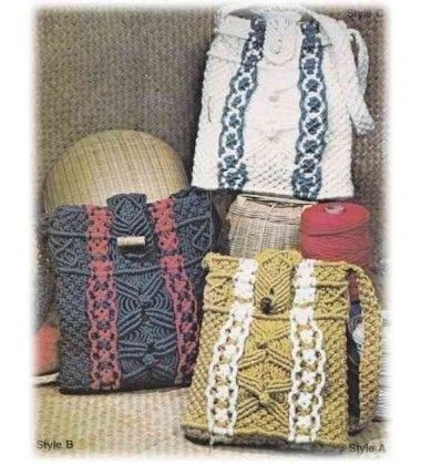 22 Macrame Purse Projects Patterns Instructions Handbags Totes Shoulder Bags - Craft Book 7262