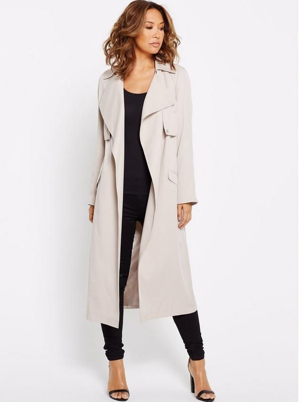 Myleene Klass Drape Front Midi Duster Coat - Stone Cover up in classic style with a drape front midi duster coat by MyleeneKlass. Presented in a chic stone hue, it's an endlessly versatile pick that's ideal for in-between season styling and nailing transitional dressing.Wear it belted to flatter and create a polished look. Or try pushing up the sleeves and wearing it open for a more laid back vibe.Washing Instructions: Dry Clean OnlyCoats & Jackets Style: Coat