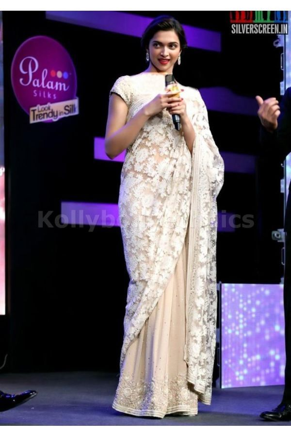 Bollywood Actress Deepika Padukone Georgette Saree in White color