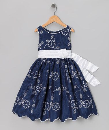{Navy Embroidered Dress - Toddler & Girls by Sweet Heart Rose} Love the edge.