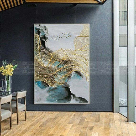 Gold Art Abstract Painting Canvas Wall Art Pictures For Living Etsy Gold Art Painting Wall Art Pictures Etsy Wall Art #wall #art #paintings #for #living #room
