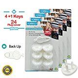 Electric Outlet Plugs covers Baby Proofing( 24 Plug  5 Keys)baby safety ElectricalProtector Caps Kit for Toddlers child