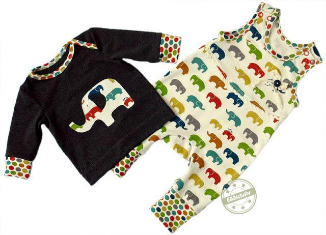 """EGGsclusiv: Strampler ohne Fuß und schmales Shirt nach Schnittmustern aus dem Buch """"Nähen mit Jersey - babyleicht"""" von klimperklein aus birch Stoff"""