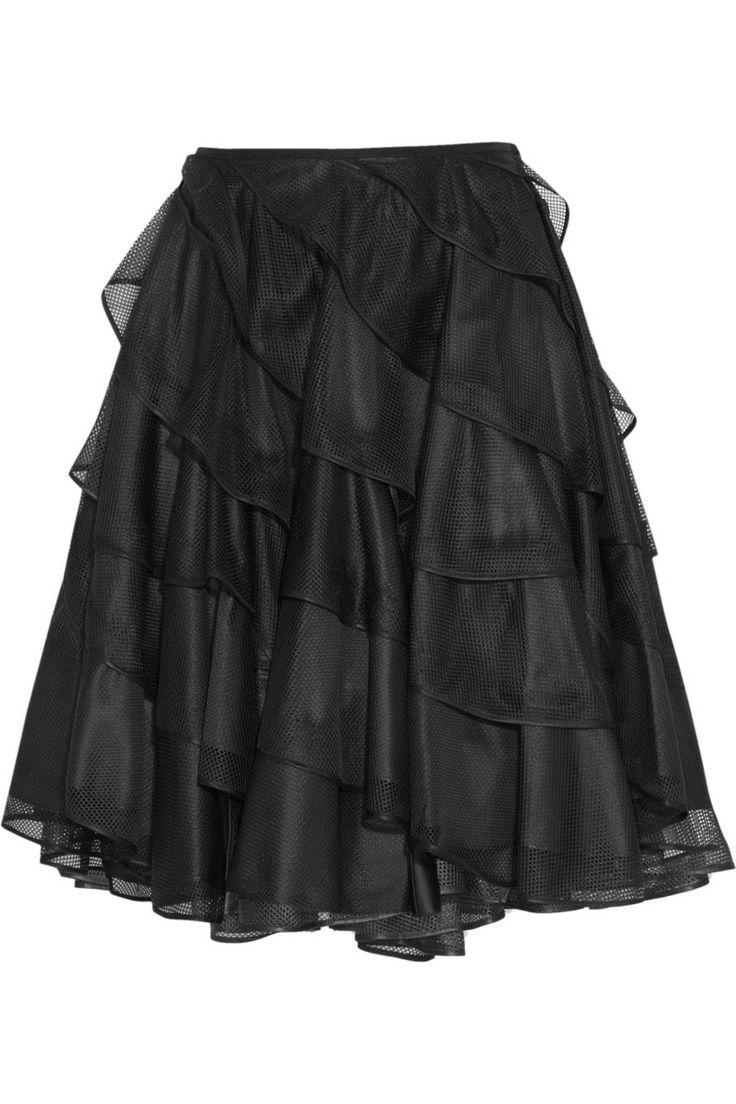 Junya Watanabe Reversible ruffled mesh and taffeta circle skirt