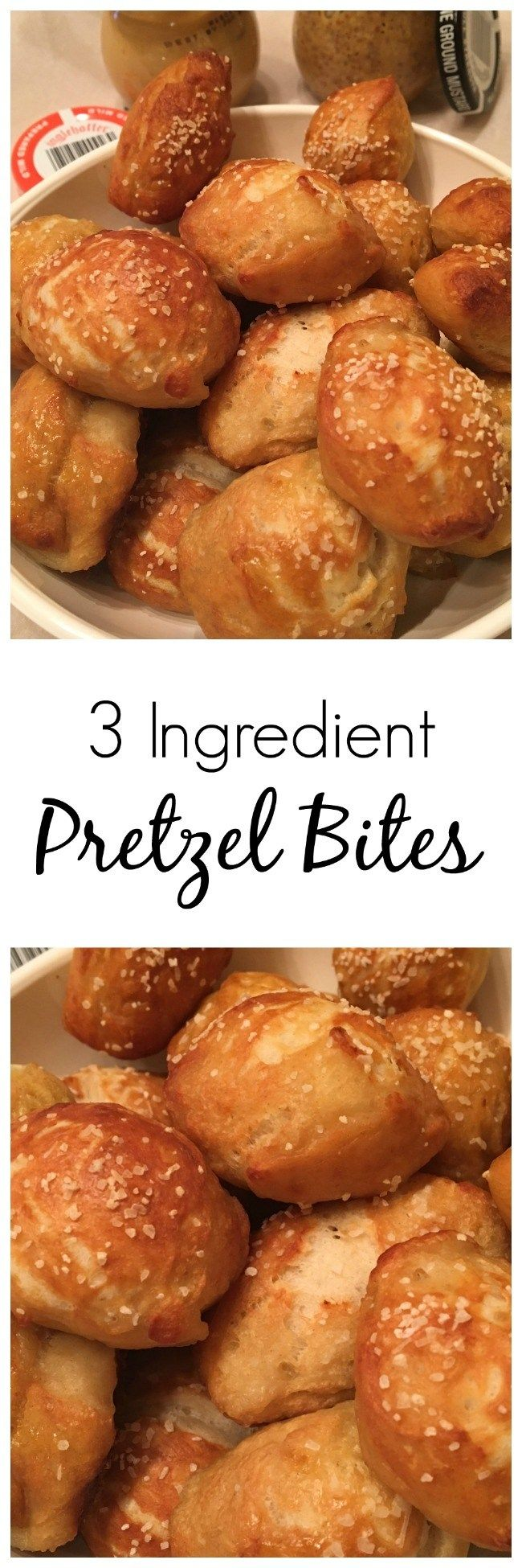 Only 3 ingredients. You can't get much simpler than that, unless you buy frozen pretzel bites and that's no fun and definitely not as tasty.