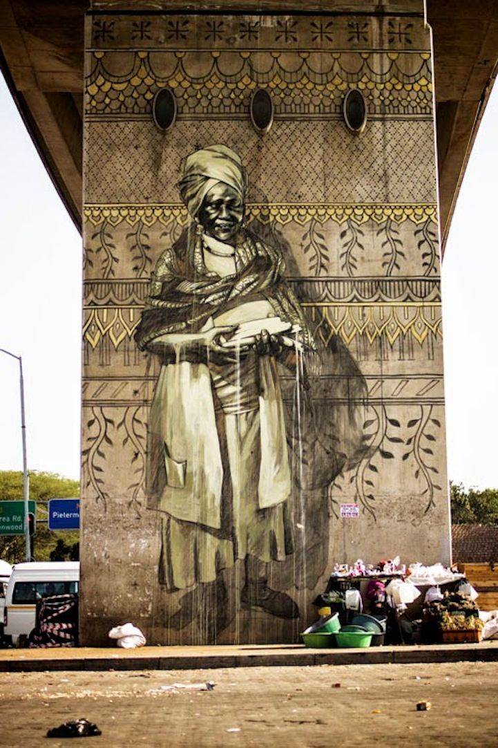 Enormous Murals Inspired by Local Traders in Warwick, South Africa - My Modern Met