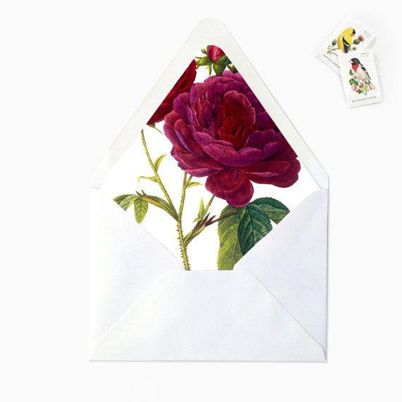 marsala burgundy rose floral flower envelope liner  diy