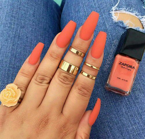48 Summer Acrylic Coffin Nails Designs 2019 Coral Acrylic Nails Orange Nails Summer Acrylic