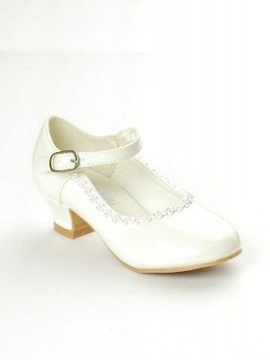 1c0f691aeccf Ivory Rhinestone Detailed Patent Flower Girl Shoes