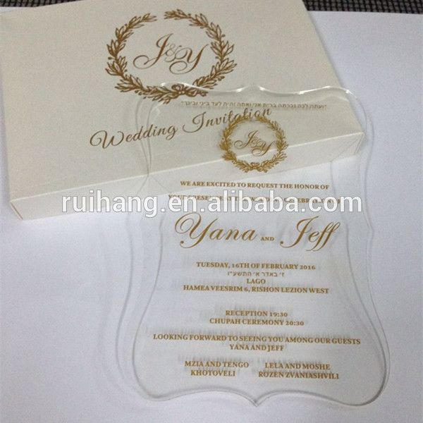 Clear Acrylic Die Cut Wedding Invitations For Elegant Wedding Favors with gold words, View Clear Wedding Acrylic Invitation Card for Wedding Favors glass , Ruihag Product Details from Guangzhou Ruihang Paper Products Co., Ltd. on Alibaba.com