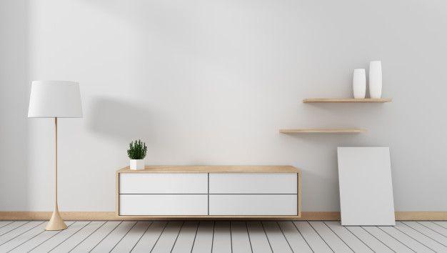 Armário Da Tevê No Quarto Vazio Moderno Japonês Estilo Do Zen Projetos Mínimos Renderização 3d Empty Room Zen Design Wooden Room