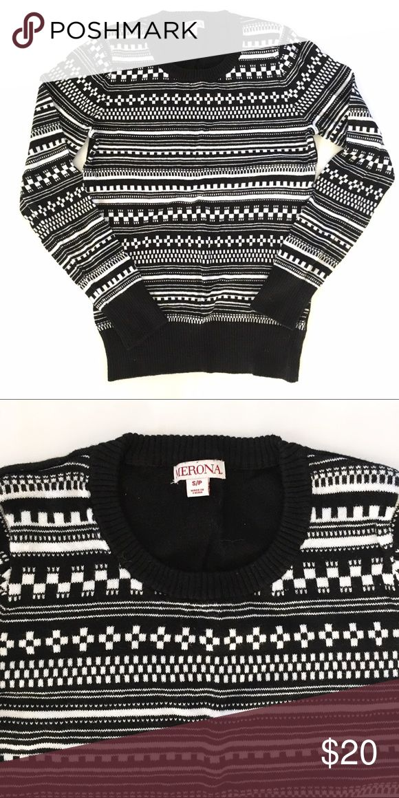 Black and White Fair Isle Sweater NWOT. Gorgeous black and white Scandinavian pattern. Perfect for fall and winter with a vest (see faux sheepskin or white vests in my closet!). Merona Sweaters