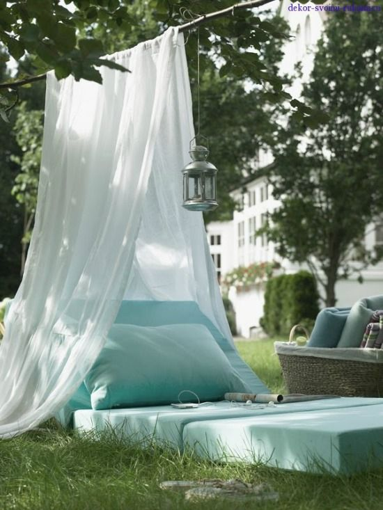 Eigengemaakt loungetentje in de tuin