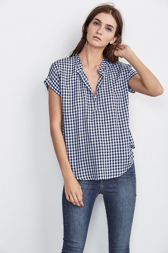 $128.00 EUNICE SHORT SLEEVE GINGHAM TOP IN BLUE