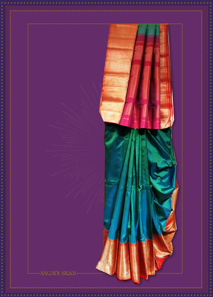 Welcome 2018 With Open Arms And These Drop Dead Gorgeous Looks From Angadi Silks. Experiment Ramar Blue Kanjivaram Saree for the Family Get Together on #newyeareve. Style your mother's favorite kada. #newyear2018 Read more https://angadisilks.com/welcome-2018-with-open-arms-and-these-drop-dead-gorgeous-looks-from-angadi/ #angadisilks #thehouseofangadi