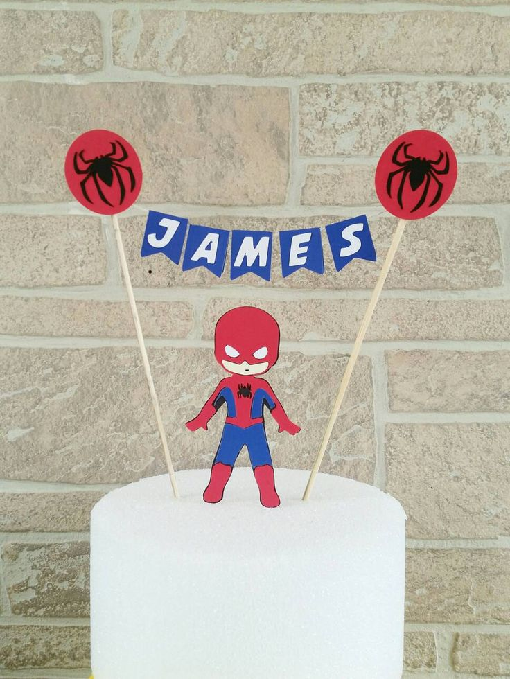 Spiderman cake topper, Superhero themed birthday cake banner includes (6) individual pennants with your choice of superhero logo(s) & String. SPIDERMAN  ****Leave Name for banner in COMMENTS TO SELLER at checkout Please note that due to rotating stock and discontinued supplies, exact colors and designs of card stock and papers, string and embellishments may vary slightly without prior notice, depending on availability. Need additional Items for your party? Combine orders for a cheaper pr...