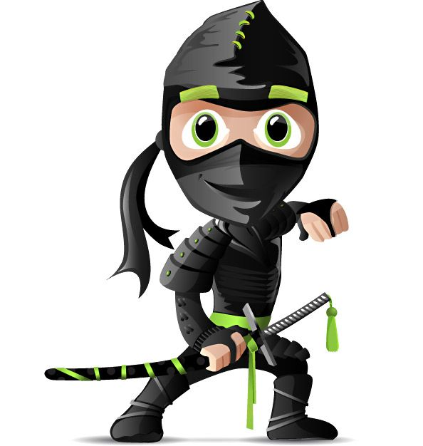 Free ninja vector character loaded with blades and throwing stars. Our ninja vector looks like a great fighter that is trained well in martial arts. Download the vector character for free and use for web and print projects. Continue reading →