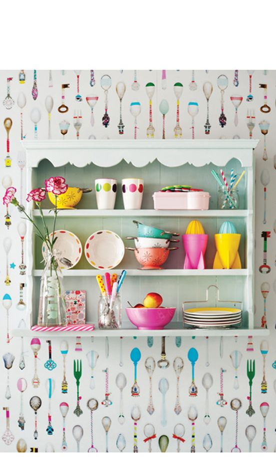 Awesome shelf and colorful collection. Wallpaper wonderment!