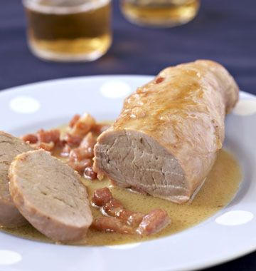 Filet mignon de porc à la bière et aux lardons - les meilleures recettes de cuisine d'Ôdélices