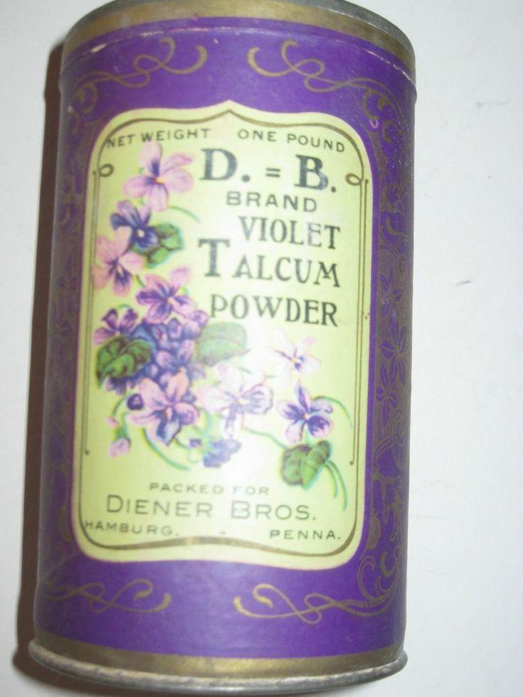 VINTAGE~Old, Unopened, 1914 DIENER BROTHERS Talcum Tin~HAMBURG,PA.~Violets
