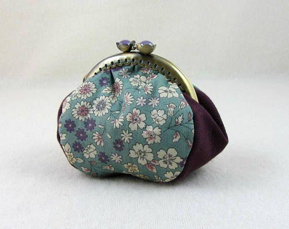 Floral coin purse metal frame purse clasp purse handmade