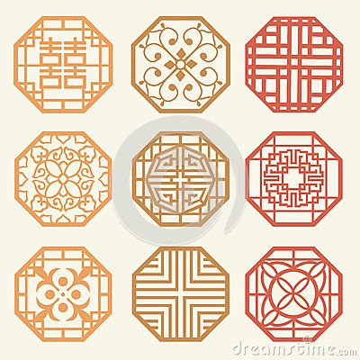 korean design pattern | Korean Old Of Window Frame Symbol Sets. Korean Traditional Patte Stock ...