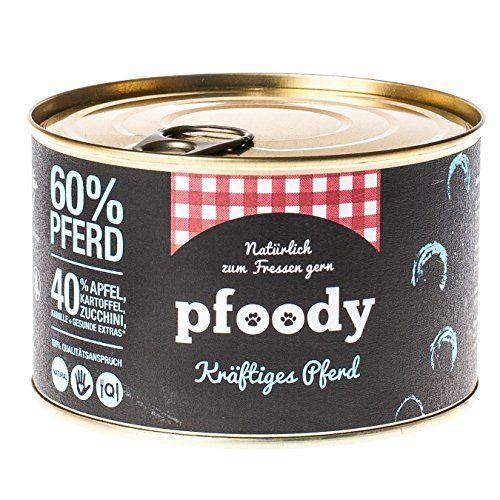 """Aus der Kategorie Nassfutter  gibt es, zum Preis von   <p>""""Kräftiges Pferd"""" wurde speziell für Hunde mit Nahrungsmittelallergien entwickelt. Rustikales Pferdefleisch ist ein echter Klassiker bei der Durchführung von Ausschlussdiäten. Kombiniert mit frischen Kartoffeln, Zucchini und Äpfeln, entsteht ein vollwertiges, gut verdauliches Menü. Alleinfuttermittel für Hunde.</p>  <p><b>Zusammensetzung:</b> Pferd-Muskelfleisch 60%, Zucchini 12,8%, Kartoffel 12,8%, Apfel 12,8%, Leinöl 1%…"""