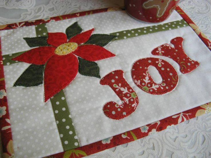 Joy - Christmas Card Mug Rug - via @Craftsy