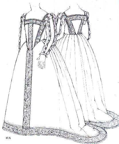 Eleonora di Toledo's burial gown as seen in Janet Arnold's Patterns of Fashion
