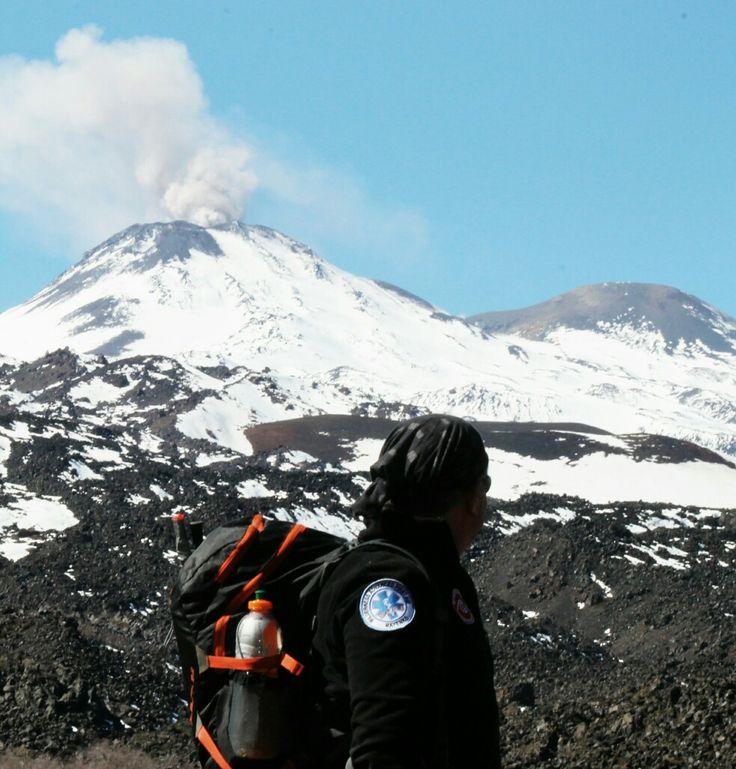 Observando el. Volcán Chillán Nuevo desde el Valle de Shangrila, Las Trancas, Chillán, VIII Región del Biobío. 02 de septiembre de 2016.